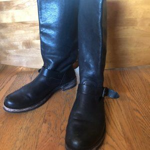 FRYE Veronica Slouch Black Leather Moto Boots 11M